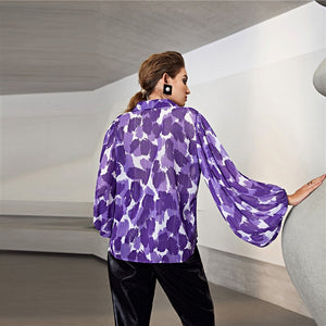 Elegant Lantern Sleeve All Over Print Sheer Shirt Blouse