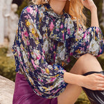 Load image into Gallery viewer, Boho Tie Neck Lantern Sleeve Shirred Hem Pleated Floral Crop Top
