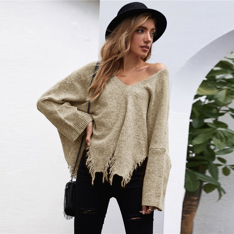 Casual Drop Shoulder V-Neck Asymmetrical Ripped Hem Sweater