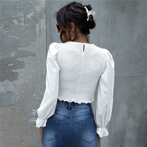 Casual Lantern Sleeve Shirred Frill Trim Crop Top