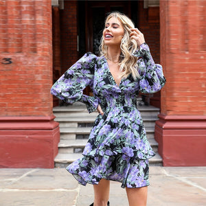 Boho Shirred Panel Layered Ruffle Hem Floral Dress