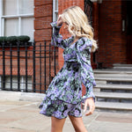Load image into Gallery viewer, Boho Shirred Panel Layered Ruffle Hem Floral Dress