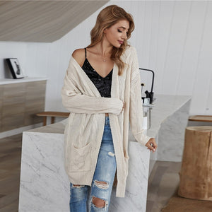 Casual Cable Knit Dual Pocket Cardigan