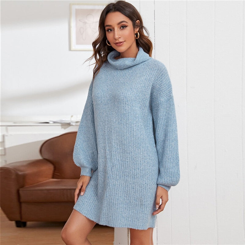 Casual Funnel Neck Drop Shoulder Sweater Dress