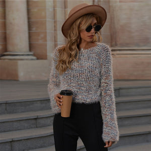 Casual Drop Shoulder Fuzzy Knit Sweater