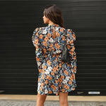 Load image into Gallery viewer, Boho Mock-Neck Leg-of-Mutton Sleeve Floral Dress