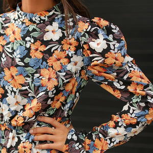 Boho Mock-Neck Leg-of-Mutton Sleeve Floral Dress