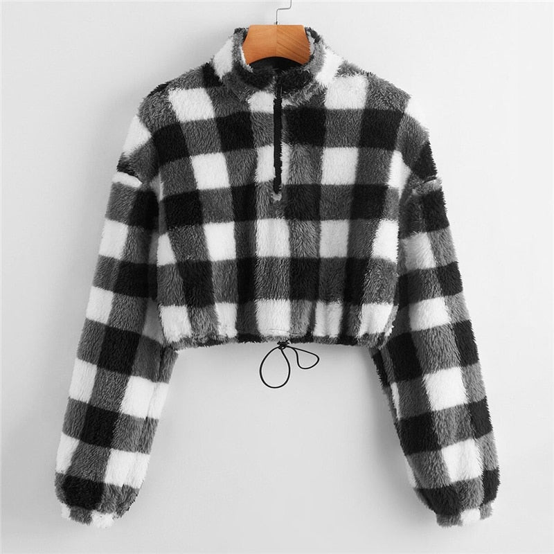 Casual Zip Half Placket Drawstring Hem Buffalo Plaid Teddy Pullover