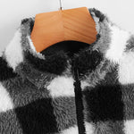 Load image into Gallery viewer, Casual Zip Half Placket Drawstring Hem Buffalo Plaid Teddy Pullover