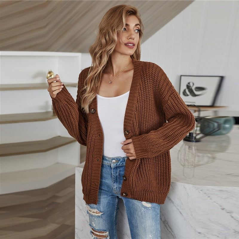 Casual Rib-Knit Button Up Cardigan