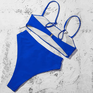 Sexy Push Up Padded Bra Straps High Waist Bikinis Set Swimsuit