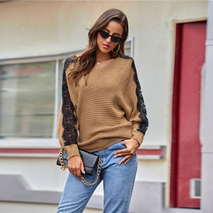 Casual Colorblock Lace Panel Batwing Sleeve Sweater