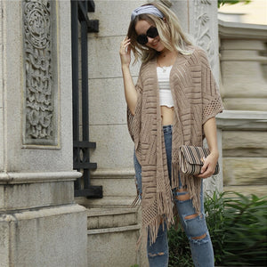 Casual Fringe Hem Open Knit Cape Cardigan