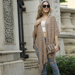 Load image into Gallery viewer, Casual Fringe Hem Open Knit Cape Cardigan