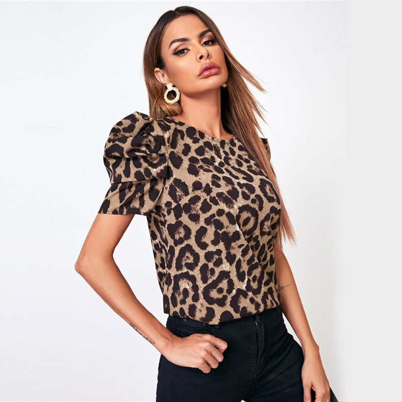 Casual Puff Sleeve Leopard Print Keyhole Back Top
