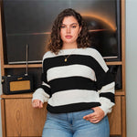 Load image into Gallery viewer, Casual Colorblock Drop Shoulder Plus Size Sweater