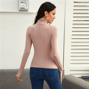 Elegant Funnel Neck Ruched Solid Tee
