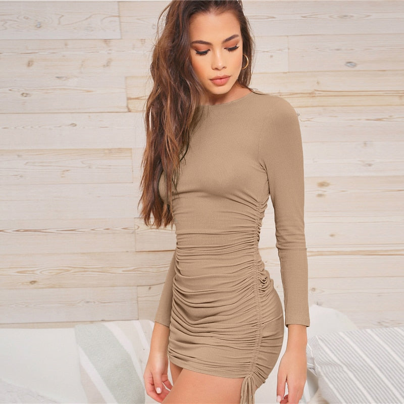 Casual Drawstring Ruched Side Rib-Knit Bodycon Dress