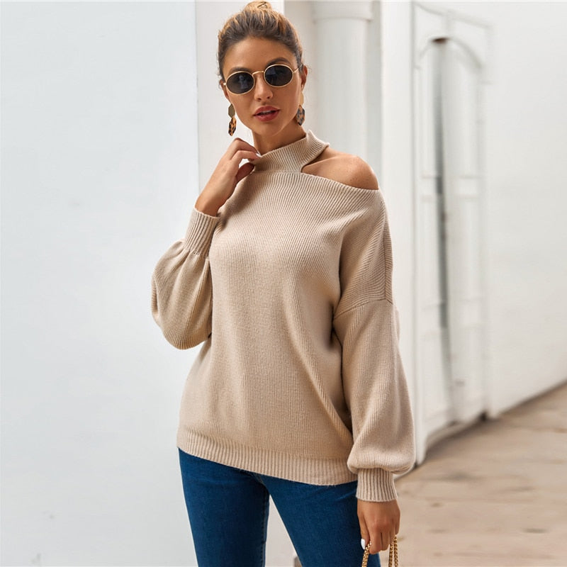 Casual Cut Out Drop Shoulder Rib-Knit Sweater