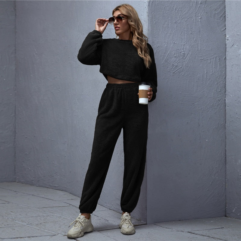 Casual Drop Shoulder Teddy Crop Pullover and Sweatpants Set