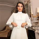 Load image into Gallery viewer, Elegant Mock-Neck Self Buckle Belted Pleated Dress