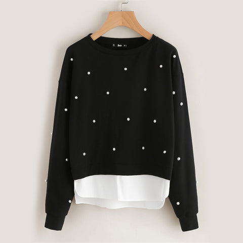 Pearl Beading 2-in-1 Women Sweatshirts - WOMENEXY