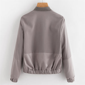 Autumn Casual Pocket Zipper Front Stand Collar Long Sleeve Basic Jacket - WOMENEXY
