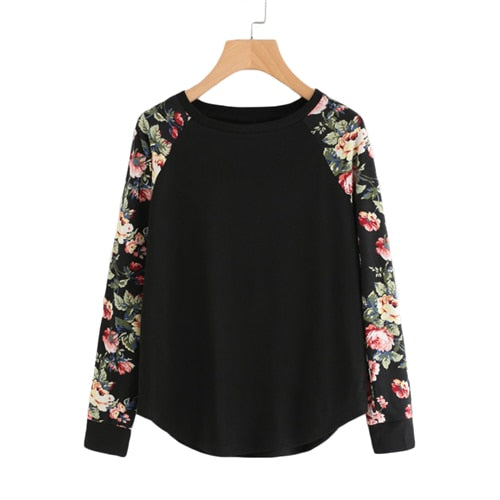 Floral Raglan Sleeve Curved Hem Autumn Casual Black Long Sleeve Women T-Shirt - WOMENEXY