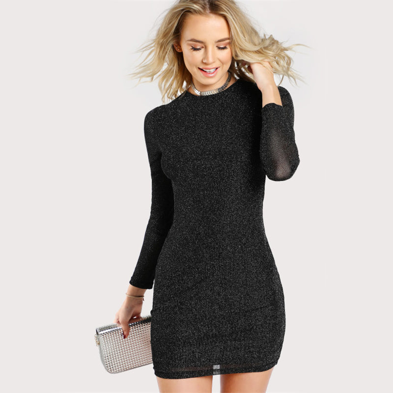 Sexy Glitter Form Fitting Women Dresses - Black - WOMENEXY
