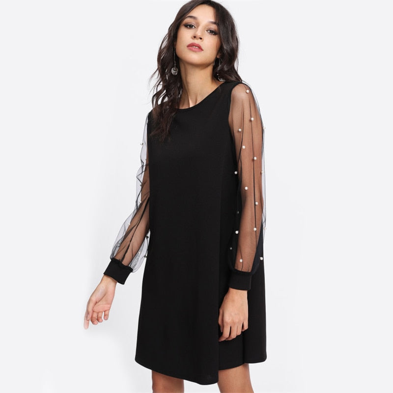 Elegant Pearl Beading Mesh Sleeve Tunic Women Dresses - Black - WOMENEXY