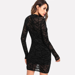 Party Bodycon Long Sleeve Stand Collar Transparent Sheer Mesh Overlay 2-in-1 Women Dresses - Black