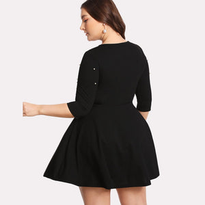 Round Neck Spring Plus Size Dress