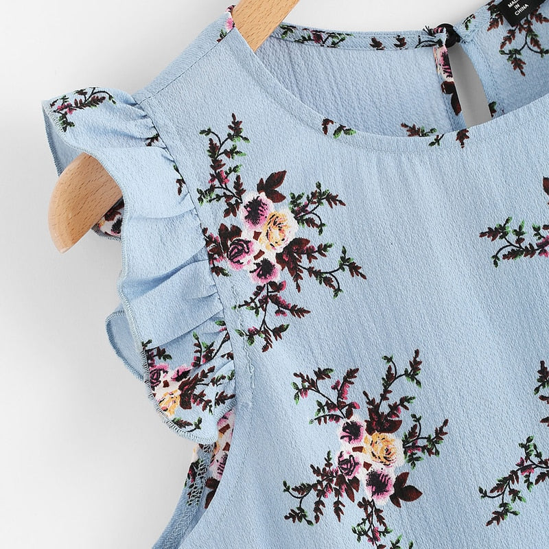 Frilled Armhole Button Closure Back Floral Top Summer Regular Fit Blue Chiffon Sleeveless Casual Blouse - WOMENEXY