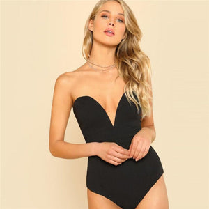 Sexy Sweetheart Bustier Bodysuit - Black