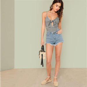 Sexy Sleeveless Spaghetti Strap Backless Plaid Women Bodysuits - Size XS to L - WOMENEXY