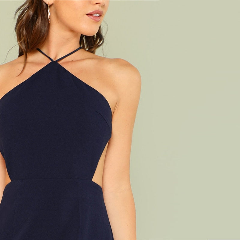 Sexy Sleeveless Backless Mini Women Dresses - Navy