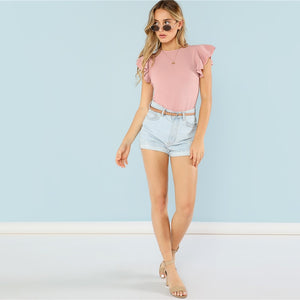 Casual Layered Ruffle Detail Textured Bodysuit - Pink - WOMENEXY