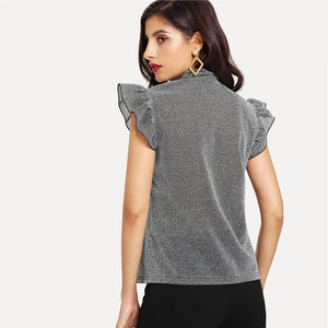 Gray Tied Neck Ruffle Sleeve Summer Casual Top Elegant Office Lady Party Glitter Blouse - WOMENEXY