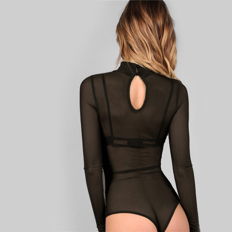 Sexy Mock Neck Long Sleeve Hollow Out Back Mesh Women Bodysuits - Black - Size XS to L - WOMENEXY