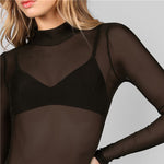 Load image into Gallery viewer, Sexy Mock Neck Long Sleeve Hollow Out Back Mesh Women Bodysuits - Black - Size XS to L - WOMENEXY