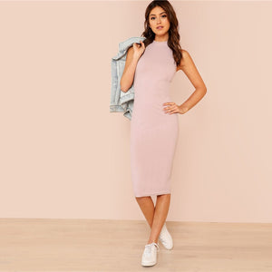 Elegant Mock Neck Rib Knit Plain Pencil Women Dresses - Pink - WOMENEXY