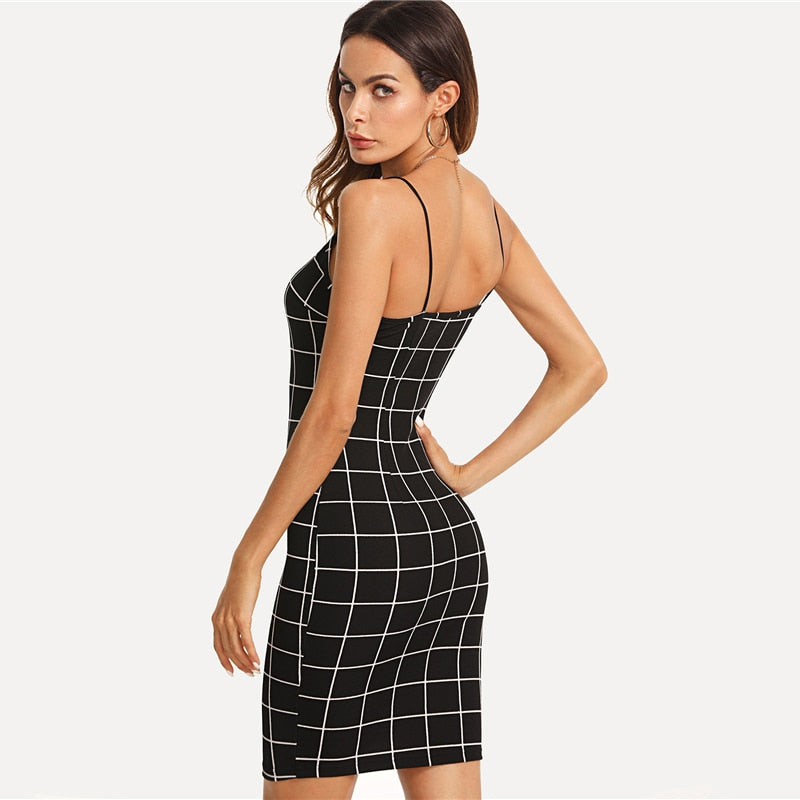 Party Spaghetti Strap Grid Bodycon Women Dresses - Black
