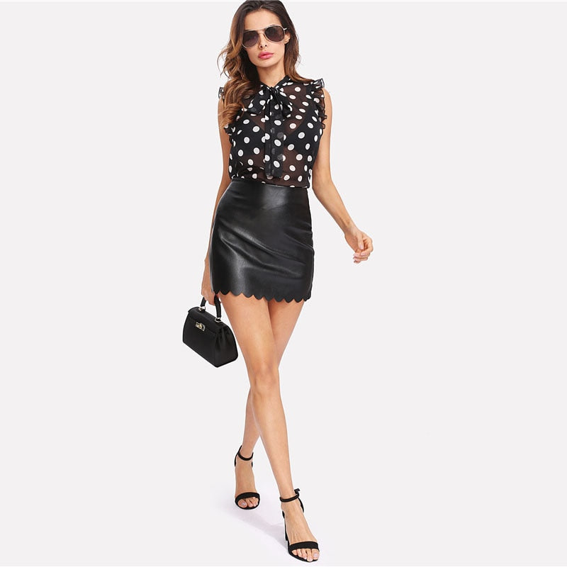 Ruffle Tied Neck Bow Polka Dot Women Stand Collar Sleeveless Sexy Top Summer Sheer Night Out Blouse - WOMENEXY