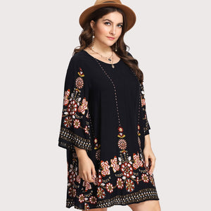 Plus Size Floral Embroidery Tunic Dress - WOMENEXY