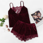 Load image into Gallery viewer, Sexy Lace Trim Velvet Cami and Shorts Women Pajama Sets - Burgundy - XS to L - WOMENEXY