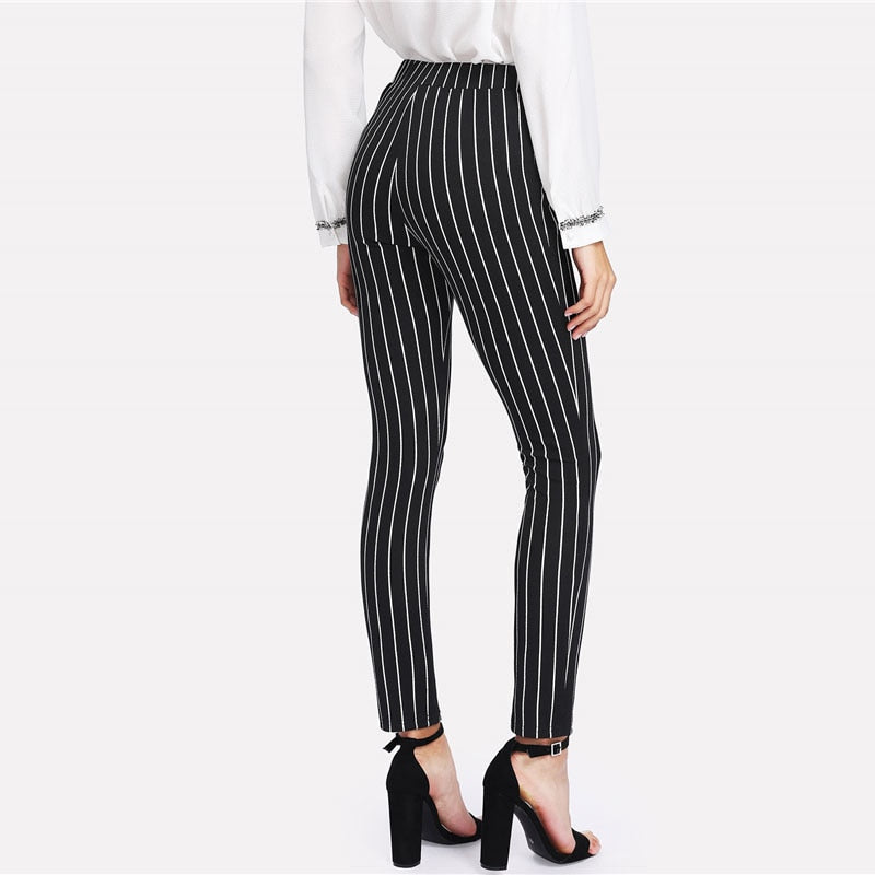 Vertical Striped Skinny Women Elastic Waist Pocket OL Style Work Trouser Spring Mid Waist Long Pencil Pants