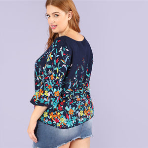 Floral Print Round Neck Casual Rayon Plus Size Blouse - WOMENEXY