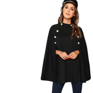 Highstreet Office Lady Double Button Mock Poncho Solid Elegant Women Coat - Black - WOMENEXY