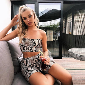 Sexy Snake Skin Womens Sets - Crop Top + Shorts - Size S to L - WOMENEXY