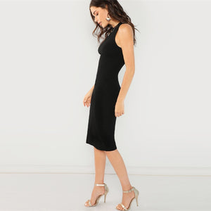Elegant Solid Pencil Women Dresses - Black - WOMENEXY
